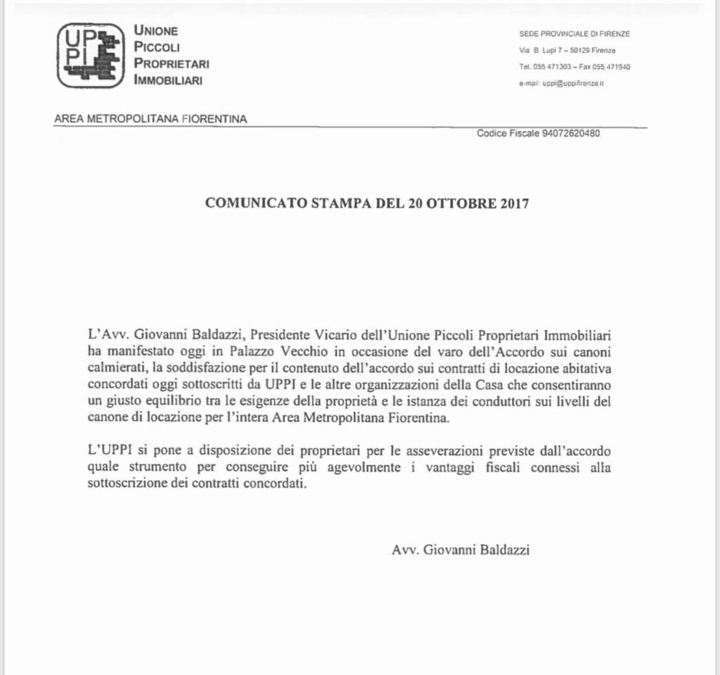 Comunicato stampa del 20 ottobre 2017